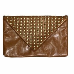 Steve Madden | Cognac Gold Studded Envelope Clutch